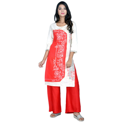 Red Color Cotton printed Kurti - Design-23-Red