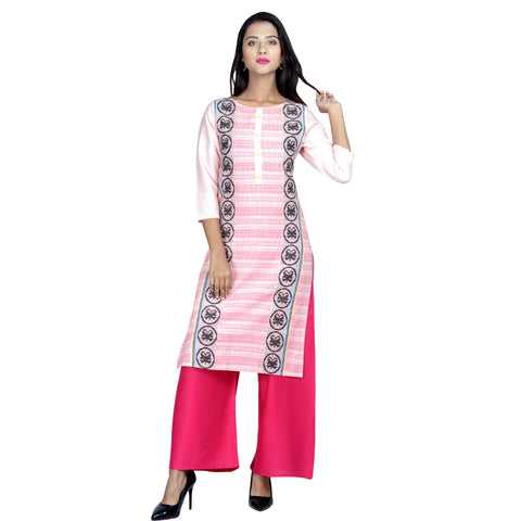 Pink Color Cotton printed Kurti - Design-27-Pink