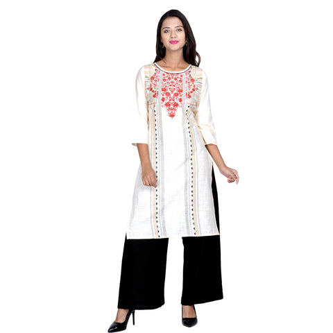 White Color Cotton Stitched Kurti - Design-28-White-Red-Printed-Black