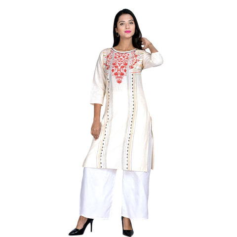 White Color Cotton printed Kurti - Design-28-White