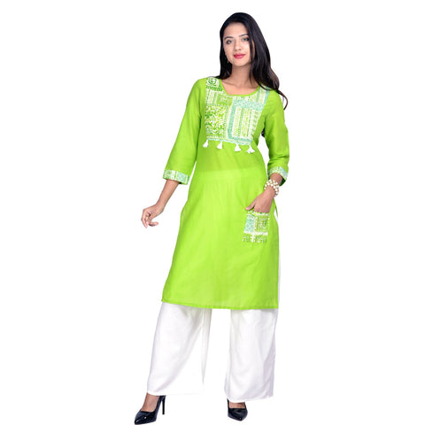 Green Color Cotton Stitched Kurti - Design-33-Green-Pocket-White