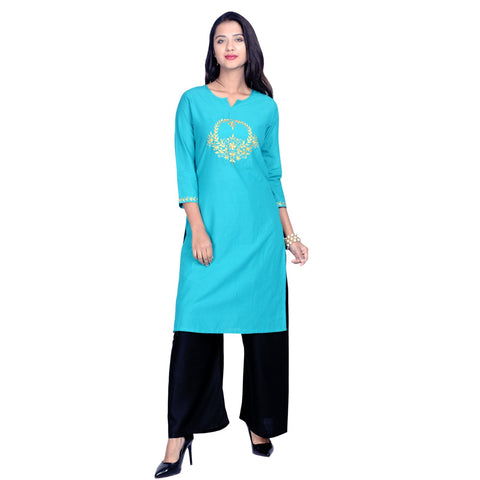 Blue Color Cotton Embroidered Kurti - Design-34-Blue-Zari
