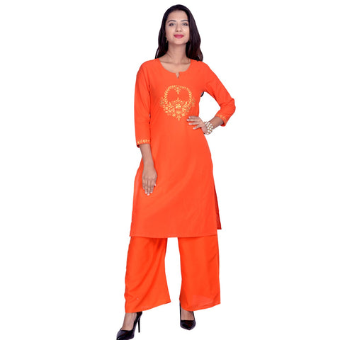 Orange Color Cotton Embroidered Kurti - Design-34-Orange-Zari
