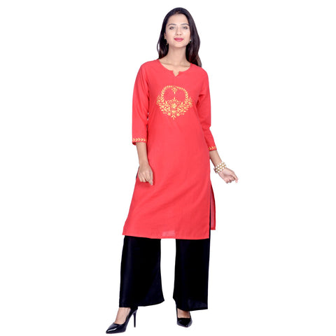 Red Color Cotton Embroidered Kurti - Design-34-Red-Zari