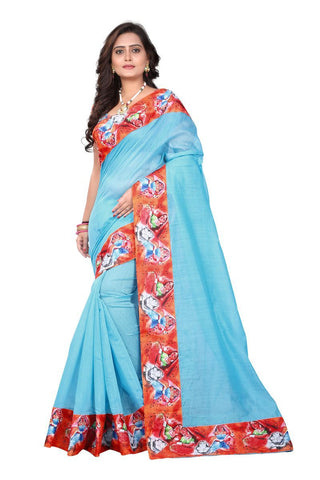 Blue Color Chanderi Cotton Saree - Digitalprint-blue