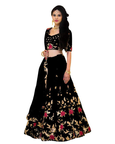 Black Color Banglori Satin Stitched Lehenga - Dikshi-Black-Lehenga