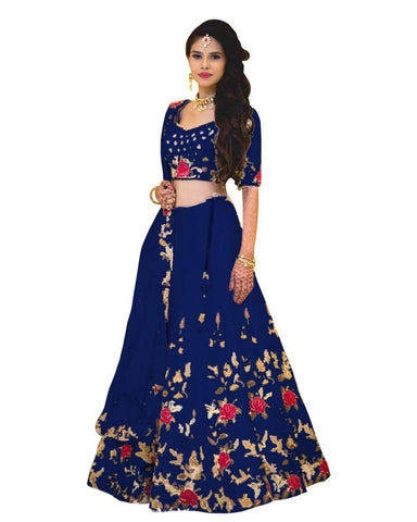 Blue Color Banglori Satin Stitched Lehenga - Dikshi-Blue-Lehenga