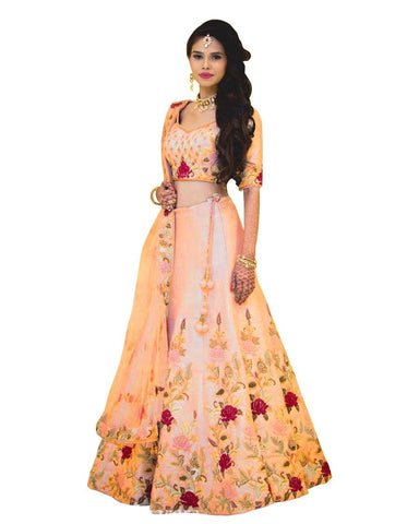 Orange Color Banglori Satin Stitched Lehenga - Dikshi-Orange-Lehenga