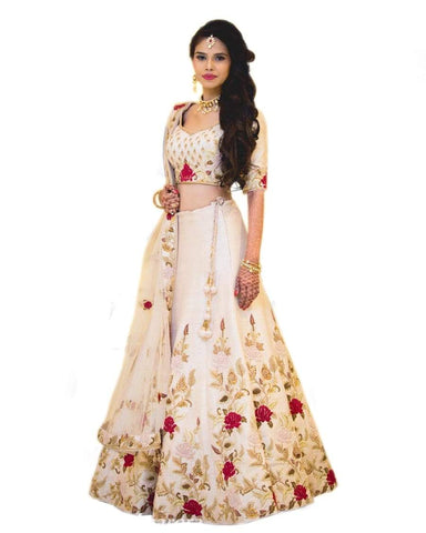 White Color Banglori Satin Stitched Lehenga - Dikshi-white-Lehenga