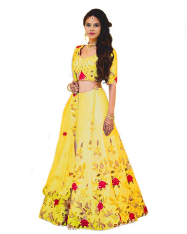 Yellow Color Banglori Satin Stitched Lehenga - Dikshi-yellow-Lehenga