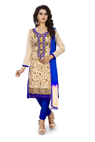 Blue Color Chanderi Silk Unstitched Dress Material - Dress-Aari-Work-1-Blue