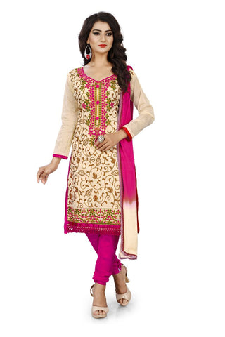 Pink Color Chanderi Silk Unstitched Dress Material - Dress-Aari-Work-1-Pink