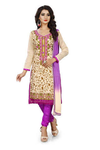 Violet Color Chanderi Silk Unstitched Dress Material - Dress-Aari-Work-1-Violet