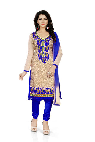 Blue Color Chanderi Silk Unstitched Salwar  - Dress-Aari-Work-2-Blue