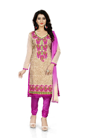 Pink Color Chanderi Silk Unstitched Salwar  - Dress-Aari-Work-2-Pink