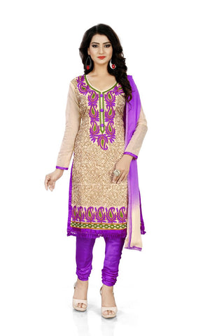 Purple Color Chanderi Silk Unstitched Salwar  - Dress-Aari-Work-2-Purple
