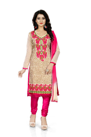 Red Color Chanderi Silk Unstitched Salwar  - Dress-Aari-Work-2-Red