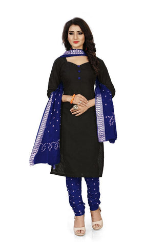 Blue Color Pure Cotton Unstitched Salwar - Dress-Bandhani-Chikan-2-Blue