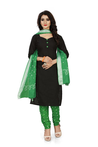 Green Color Pure Cotton Unstitched Salwar - Dress-Bandhani-Chikan-2-Green