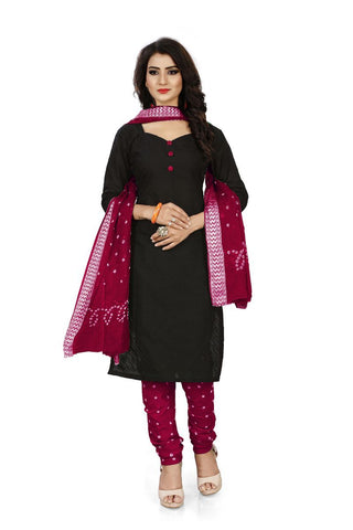 Maroon Color Pure Cotton Unstitched Salwar - Dress-Bandhani-Chikan-2-Maroon