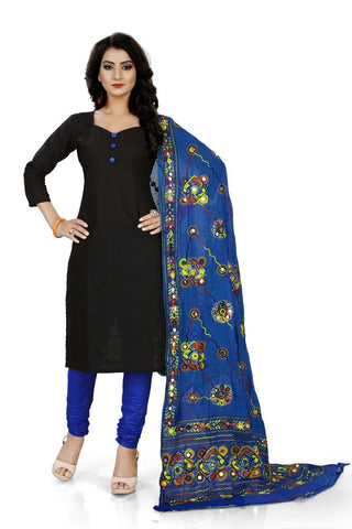 Black and Blue Color Pure Cotton Un Stitched Salwar - Dress-Dupatta-Work-Black-Blue