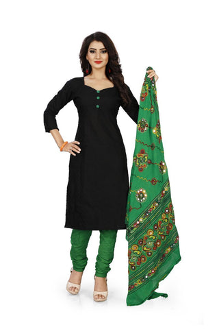 Black and Green Color Pure Cotton Un Stitched Salwar - Dress-Dupatta-Work-Black-Green