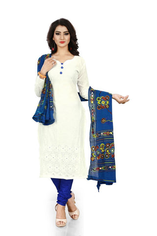 White and Blue Color Pure Cotton Un Stitched Salwar - Dress-Dupatta-Work-White-Blue