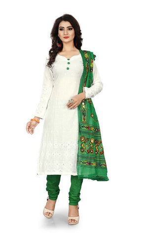 White and Green Color Pure Cotton Un Stitched Salwar - Dress-Dupatta-Work-White-Green