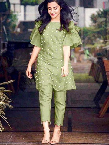 Green Color Chandero Cotton Women's Semi Stitched Kurti - Ds NO_1064-green