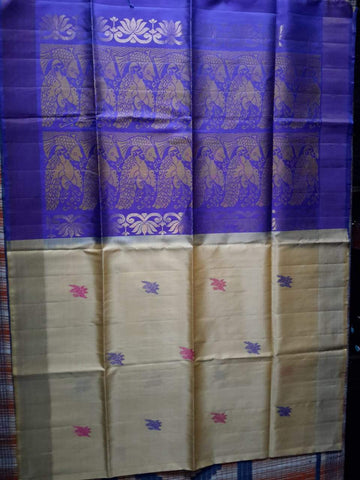 Off white and Blue Color Pure allover butta Kanjeevaram Handloom Silk Saree - Dupion-13