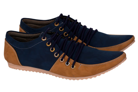 Blue and Yellow Color Synthetic Casual Shoe - ECBlue
