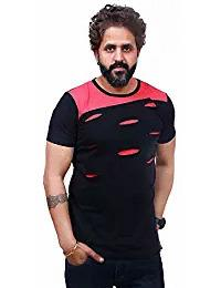Buy Navy Blue and Red Color Poly Cotton Half Sleeve Men T-Shirt