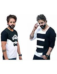 White and Black Color Poly Cotton Men Combo T-Shirt - EG-015