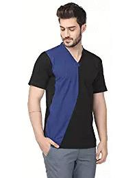 Black and Blue Color Poly Cotton Designer V-Neck MenT-Shirt - EG-017