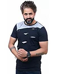 Navy Blue and Grey Color Poly Cotton Half Sleeve Men T-Shirt - EG-018