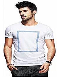 White Color Round Neck Poly Cotton Regular Fit Men T-Shirt - EG-023