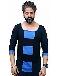 Blue and Black Color Poly Cotton Full Sleeves Men T-Shirt - EG-027