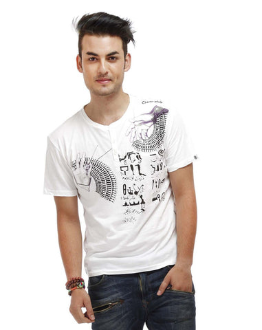 White Color Cotton Men T-Shirt - EGN-White