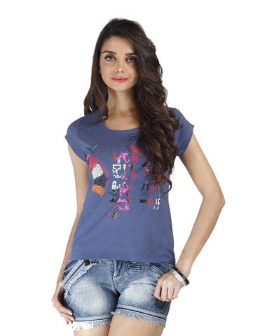 Blue Color Organic Cotton Women Top - EGY-Pacificblue