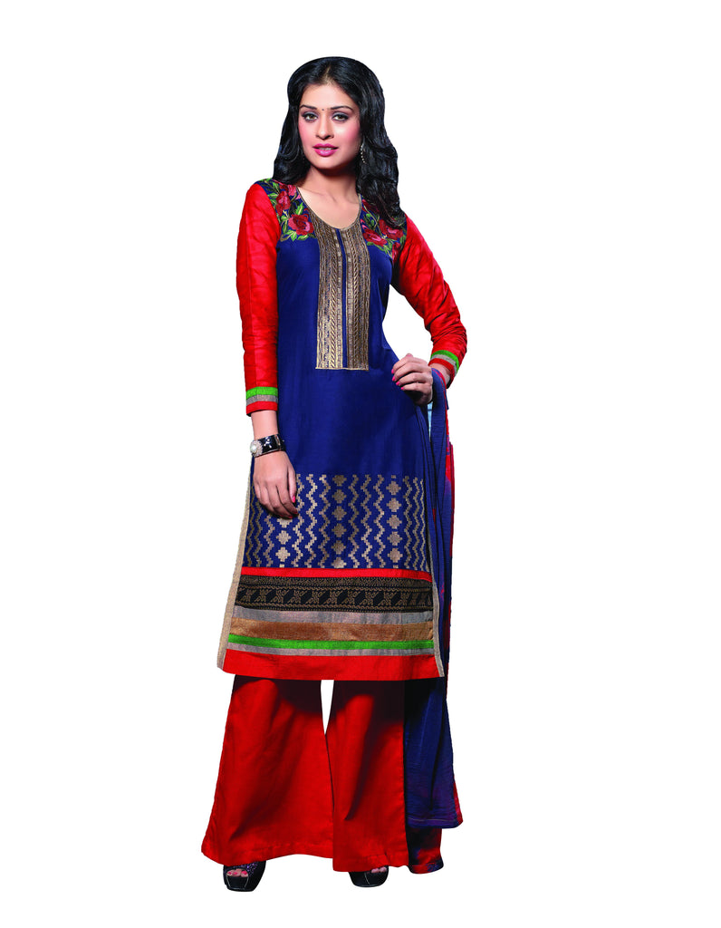 Blue Color Cambric Cotton Semistitched Salwar