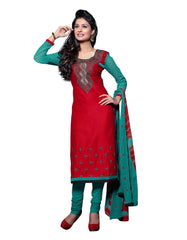 Red Color Cambric Cotton Semistitched Salwar