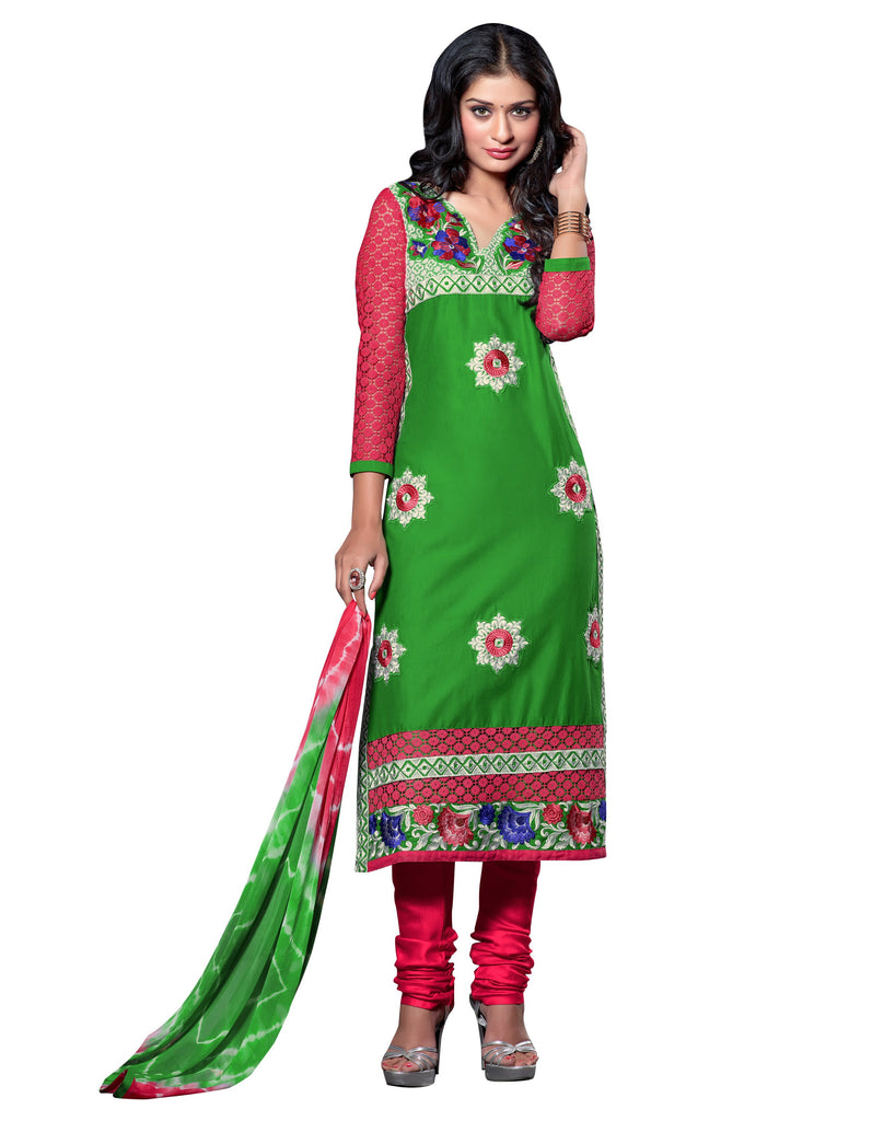 Green Color Cambric Cotton Semistitched Salwar