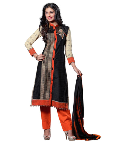 Black Color Cambric Cotton Semistitched Salwar  - ELGT0241