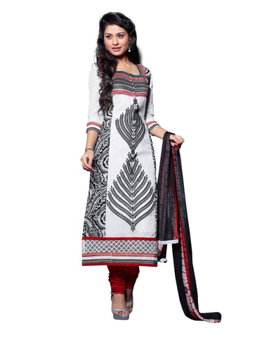 WhiteColor Cambric Cotton Semistitched Salwar  - ELGT0242