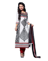 WhiteColor Cambric Cotton Semistitched Salwar