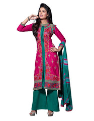 Pink Color Cambric Cotton Semistitched Salwar
