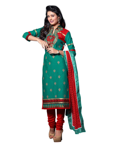Sea Green Color Cambric Cotton Semistitched Salwar  - ELGT0244
