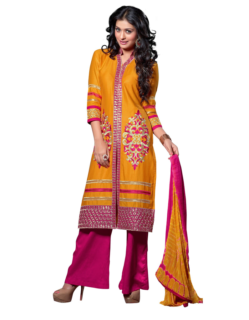 yellow Color Cambric Cotton Semistitched Salwar