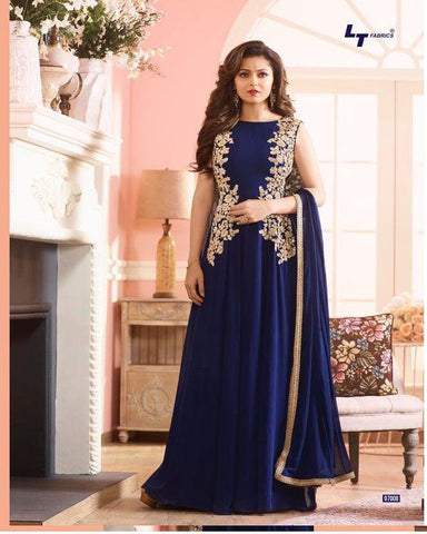 Blue Color Georgette Un Stitched Salwar - ER-10614