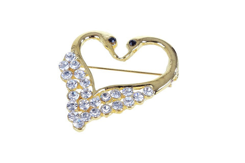 eSmartDeals-White Color Crystal Zink Alloy Brooch-ESD3808